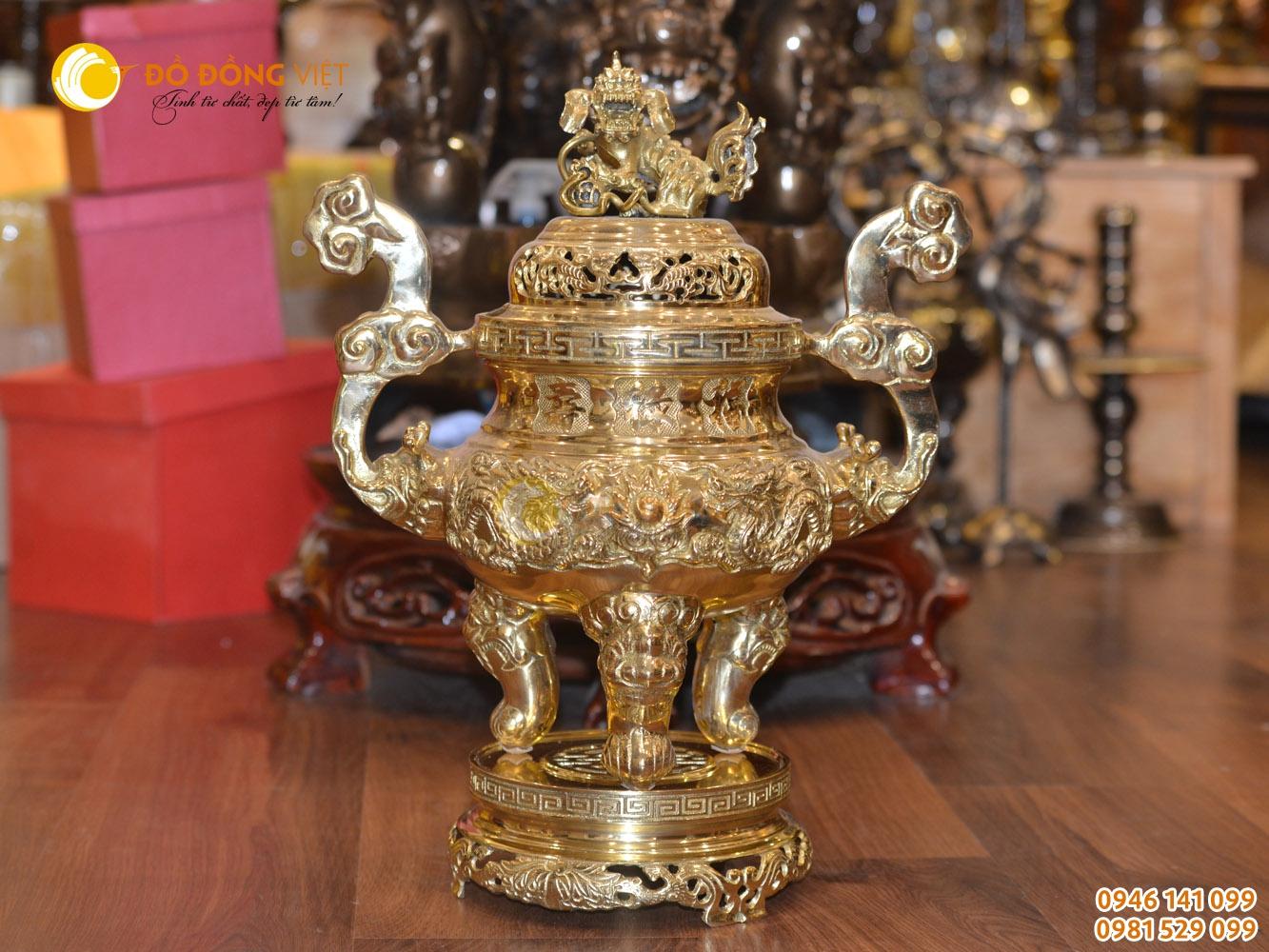 Lư đồng mạ vàng thờ cúng cao 70cm